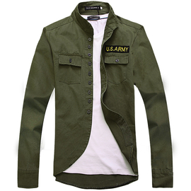 外套男修身春秋男裝夾克 貼布軍綠色軍裝獵裝 男式裝上衣服