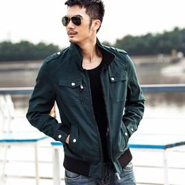 修身版夾克男士 外套青年潮男外套春秋裝全棉軍裝夾克衫