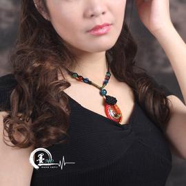 墨原創 瑪瑙琉璃弔墜民族風項鏈衣服裝飾品掛件中國風鎖骨鏈女