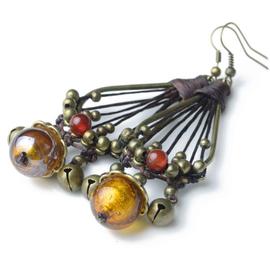 原創民族風泰國風飾品紅瑪瑙琉璃耳環女 02106