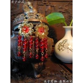 原創 流蘇耳環紅色琉璃花耳墜新娘飾品古典旗袍秀和婚慶 芸秀