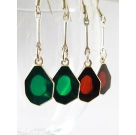 清貨 超 外貿 原單  雅致 紅色綠色 琉璃釉背透 耳環