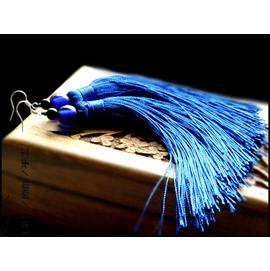 子~木◆原創琉璃長款寶藍色流蘇旗袍舞台宴會耳環無耳洞換耳夾