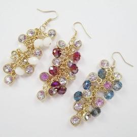 日韓外貿飾品原單 奢華大氣水晶琉璃珠合金鑲閃鑽葡萄串耳環
