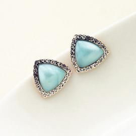 三角形鑲鑽耳釘 女幾何形貓眼石耳環高端鍍純銀防過敏耳飾品