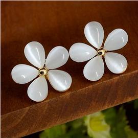2014 貓眼石花朵純銀耳釘女 水鑽五瓣花耳環耳飾品韓國