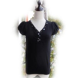 短袖百搭v領打底衫毛衣秋裝 女款女人 釘珠針織衫