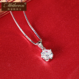 鑽石925純銀項鏈女短款鎖骨鏈韓國 水晶弔墜銀飾品配飾