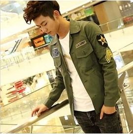 2014春秋男 修身夾克軍裝獵裝 夾克衫外套男牛仔外套軍綠色