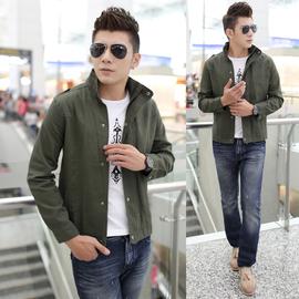 純棉工裝夾克男士修身潮流春秋裝薄款外套 短款軍裝jacket