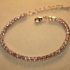 DREAMSKY 大牌 簡約玫瑰金鋯石一圈滿鑽石手鏈 女