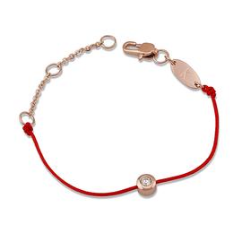 超火爆鈦鋼18K玫瑰金鑽石裸鑽單鑽細紅繩手鏈女款 本命年轉運