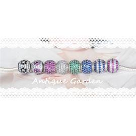pandora925純銀 滿鑽石鋯石小櫻花 多色黑白藍紅條紋鋯石手鏈串珠