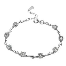 925純銀鍍白金鑲紫水晶手鏈八心八箭瑞士鑽石七心七意手飾包郵