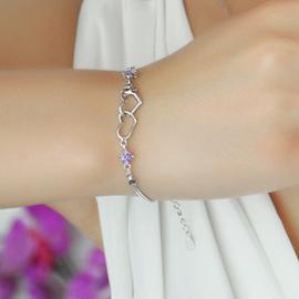 正品925純銀手鏈女 韓國復古情侶愛心鑽石水晶鍍白金飾品包郵