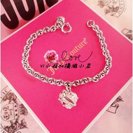 美國 Juicy Couture Heart 白色愛心蝴蝶結 鑽石吊墜手鏈