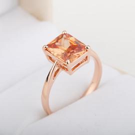 招財天然黃晶彩色寶石戒指 女戒 黃水晶戒指鑽戒指玫瑰金戒指指環
