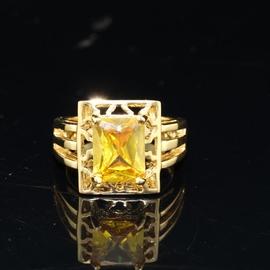 天然黃水晶戒指財運寶石戒指奢華水晶戒指女誇張寶石韓國 戒指