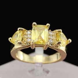 天然黃水晶戒指 招財戒指 雜志款戒指 明星食指寶石戒指鍍金