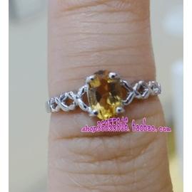 925純銀天然黃水晶 戒指 女戒 尾戒 正品 AAAA級寶石十一月誕生石