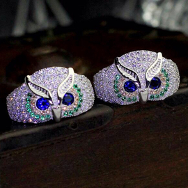 T家 藍寶石綠松石彩鑽貓頭鷹戒指 925純銀動物微鑲鋯石男女戒指