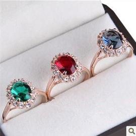 紅蘋果專櫃 大牌宮廷復古祖母綠紅藍寶石戒指環女飾品 鍍金