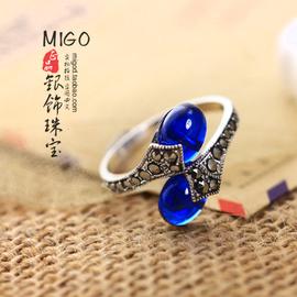 復古簡約 水晶藍剛玉藍寶石泰銀925純銀戒指結婚仿真鑽女指環