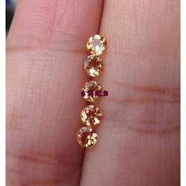 火彩漂亮巴西天然黃水晶裸石戒面加工戒指耳釘3mm 粒女