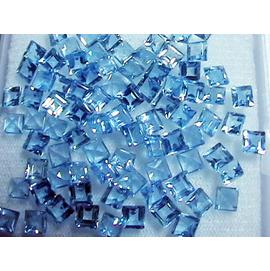 純天然火光完美的微藍色托帕石4MM方裸石可女款戒指 指環吊墜耳釘