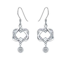 買二送一 S925純銀首飾品 心連心鑲鑽石鋯石耳環 女水晶耳飾耳釘
