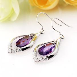 衝5鑽 925純銀飾品^~情人生日 ^~奧地利紫水晶雨滴耳環