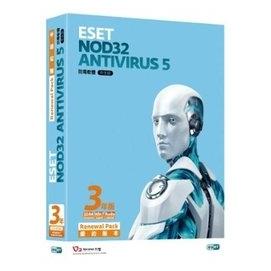 •~ 貨 含稅附發票~ESET NOD32 Antivirus 5.0 單機續約3年