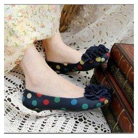 虧本 布面七彩淺口圓點碎花朵娃娃鞋平底平跟女鞋圓頭單鞋大碼