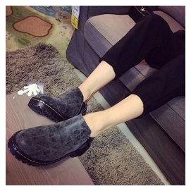 包郵2014短靴春秋中跟女單鞋包郵尖頭平底馬丁靴粗跟英倫風女靴子