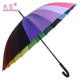 正品天裳24骨超大彩虹工藝 傘雙人素色長柄晴雨傘廠家直銷包郵