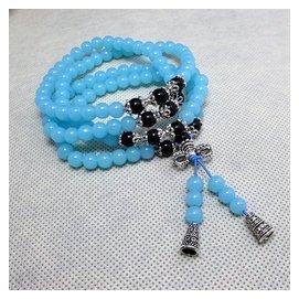 東海水晶藍玉髓黑瑪瑙108顆藏銀佛珠手鏈生日 情侶款男女款