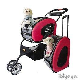 ~阿肥寵物 ~IBIYAYA依比呀呀~FS1009五彩繽紛寵物推車提包組~桃紅~ ~寵物包