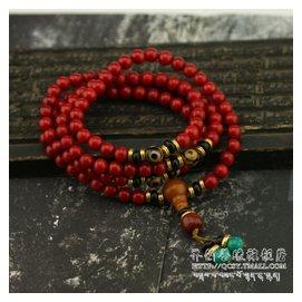 齊創善緣 優化紅珊瑚天珠手鏈108顆手串佛珠念珠女款旺運佛珠1~11