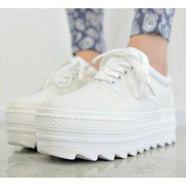 春秋帆布鞋女低幫白色厚底松糕鞋 增高小白鞋潮平底 鞋女鞋