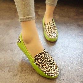 單鞋2014春 拼色豹紋平跟豆豆鞋 女鞋子 開車鞋平底鞋潮