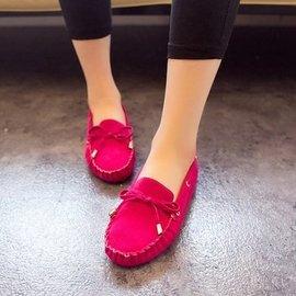包郵 蝴蝶結豆豆鞋黑色工作鞋平跟平底鞋單鞋開車鞋女鞋子