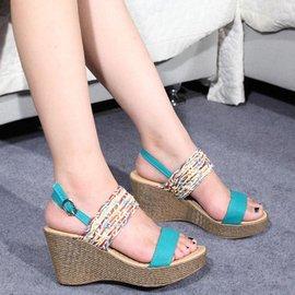 換購 2014 女?鞋 高跟鞋 厚底 拼色 坡跟 防水台 羅馬女鞋
