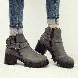 2014 新皮帶扣厚底防水台粗跟馬丁靴高跟及踝靴英倫女短筒靴子