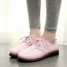 女士尖頭小皮鞋英倫學院風小白鞋平底淺口單鞋粗跟系帶女鞋子