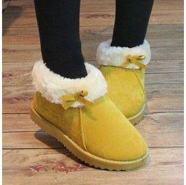 款糖果色棉鞋女鞋短靴平跟厚底蝴蝶結雪地靴翻毛情?保暖棉女