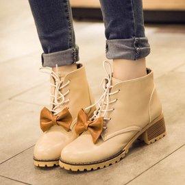 2014款 女鞋系帶蝴蝶結圓頭鞋中跟复古馬丁靴粗跟踝靴短靴