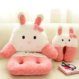 2件包郵~可愛甜美波點兔美臀坐墊椅墊 加厚腰靠 靠墊靠枕凳墊子
