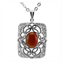 戴福得珠寶 925純銀鍍白金 天然紅玉髓 葡萄石 吊墜 鎖骨連 女