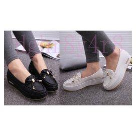 韓國stylenanda楔型厚底包鞋 白色護士鞋 孕婦鞋 豆豆鞋媽媽鞋休閒鞋