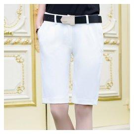 直筒五分中褲低腰 對稱腰帶裝飾五分褲 口袋夏新女 褲